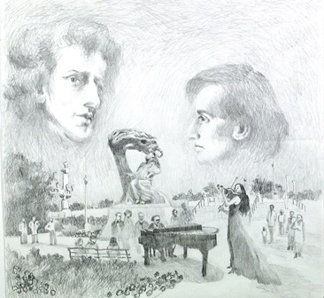 Chopin Monument Drawing 1