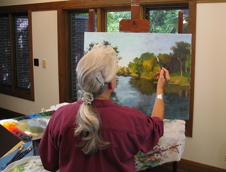 Suzanne at her easel