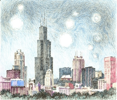 Starry Night Over Chicago - Willis/Sears Tower