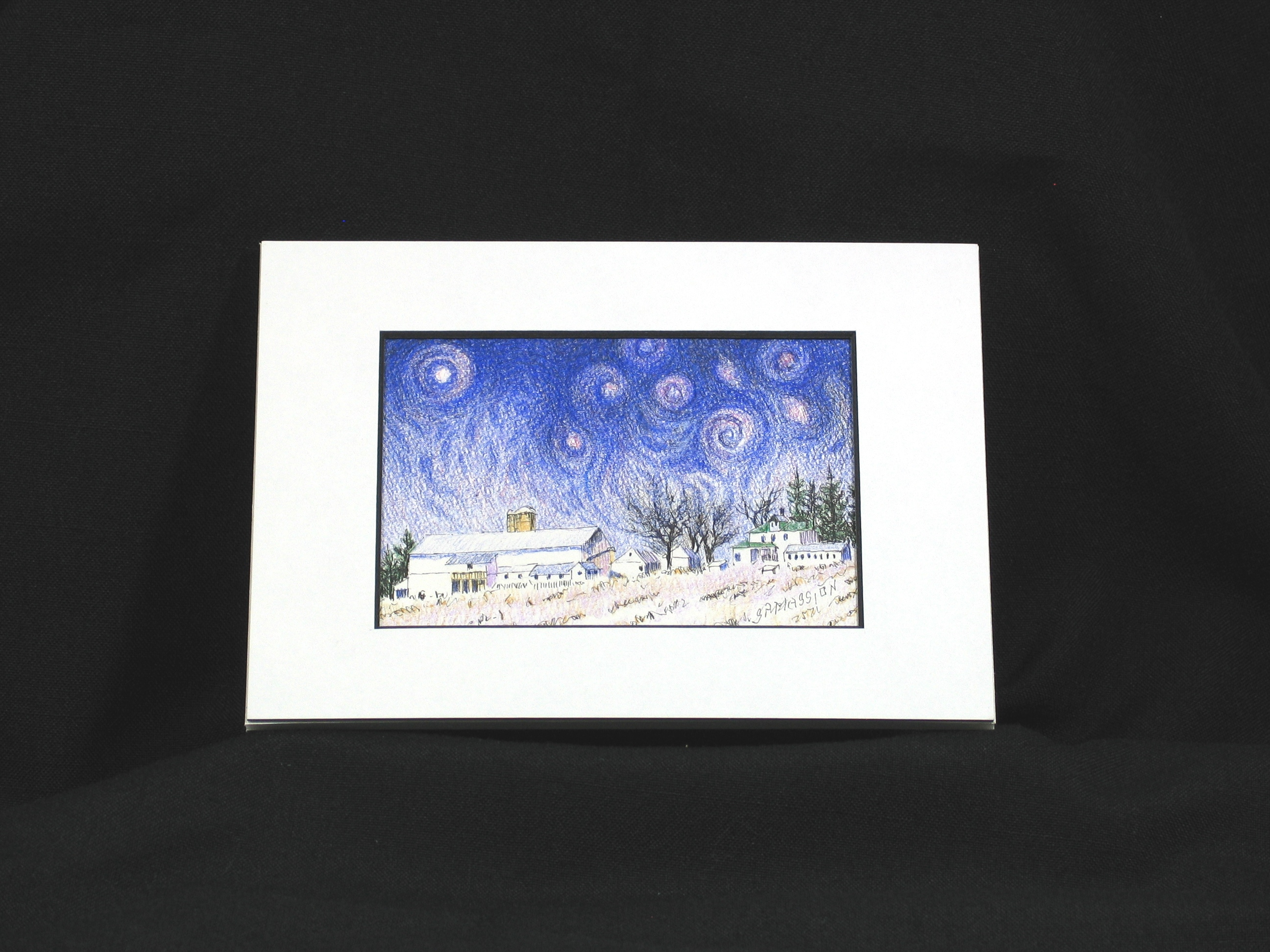 Starry Night Over Evergreen Farm Setting
