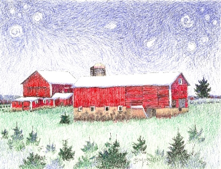 Starry Night Over The Last Red Barns