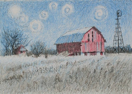 Starry Night Over The Red Barn