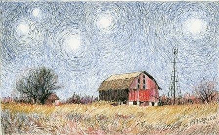 Starry Night At The Windmill Farm